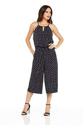 London Times Women's Petites Keyhole Halter Cropped Jumpsuit with Pockets