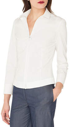 Akris Long-Sleeve Zip-Front Stretch Cotton-Poplin Shirt