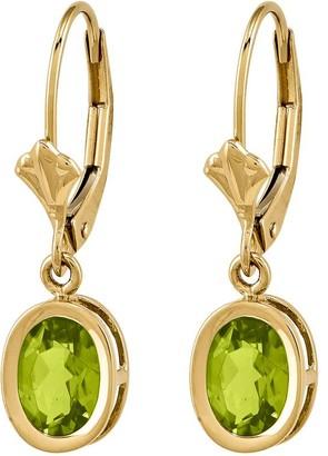 14K Oval Gemstone Leverback Earrings
