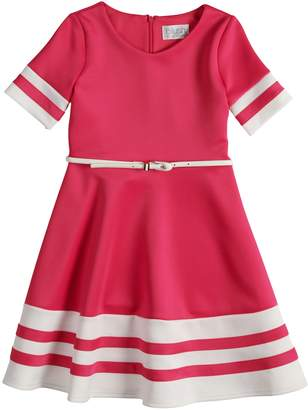 Blush Lingerie Girls 7-16 Short Sleeve Belted Fit & Flare Scuba Dress
