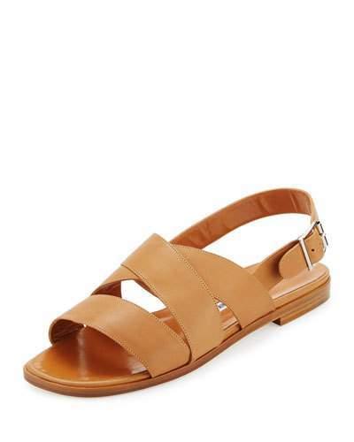 Manolo Blahnik Cuture Leather Flat Sandal, Honey
