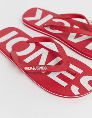 Jack and Jones flip flops with branded footbed in red