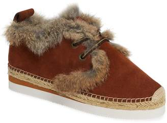 See by Chloe Glyn Genuine Shearling & Genuine Rabbit Fur Lace-Up Espadrille