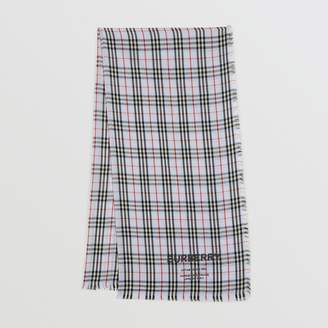 e690c982a6673 Burberry Embroidered Vintage Check Lightweight Cashmere Scarf