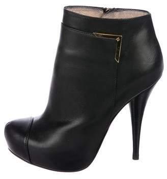 Fendi Leather Round-Toe Booties