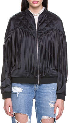 Endless Rose Fringed Satin Bomber Jacket