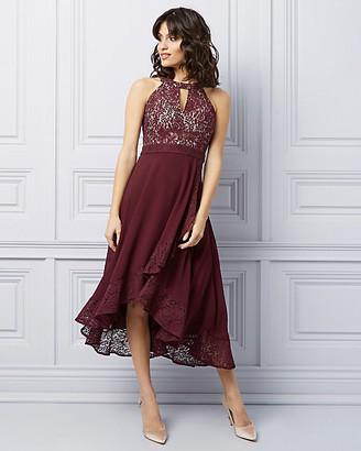 Le Château Lace High-Low Halter Cocktail Dress