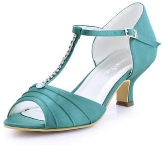 ElegantPark EL-035 Women Satin T-Strap Peep Toe Sandals Mid Heel Ruched Rhinestones Wedding Bridal Shoes US 5
