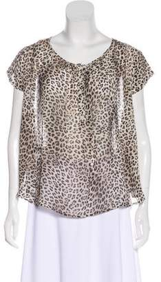 BA&SH Leopard Print Short Sleeve Top