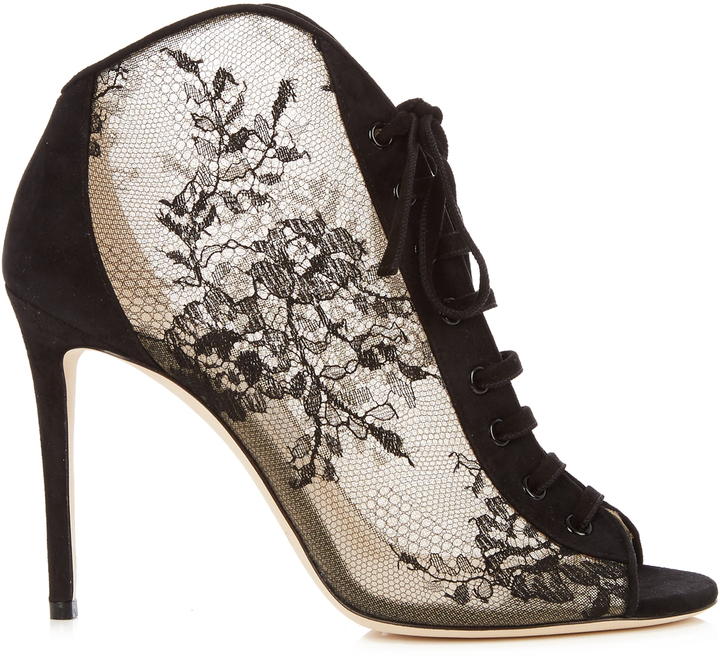 Jimmy Choo JIMMY CHOO Freya 100mm open-toe lace ankle boots
