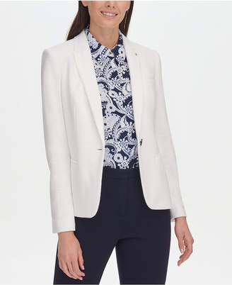 Tommy Hilfiger Textured Elbow-Patches One-Button Blazer