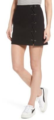 Women's Lush Grommet Lace-Up Miniskirt $39 thestylecure.com