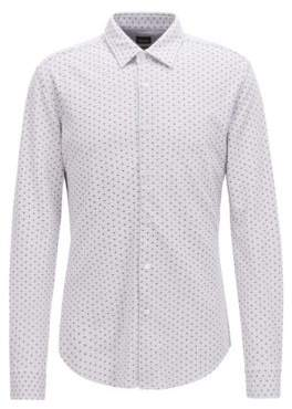 BOSS Hugo Slim-fit shirt in jersey pique exclusive pattern M Silver