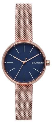 Women's Skagen Round Mesh Strap Watch, 30Mm $145 thestylecure.com