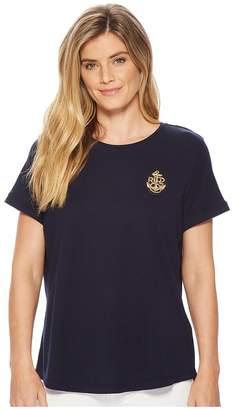 Lauren Ralph Lauren Petite Bullion-Patch Cotton T-Shirt Women's T Shirt