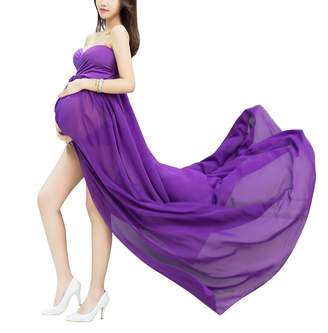 Aivtalk Women See Through Pregnant Dress Open Split Front Photo Shoot Props with Underwear