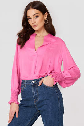 MANGO Ruched Sleeve Blouse Pink