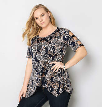 Avenue Paisley Sharkbite Cage Sleeve Top