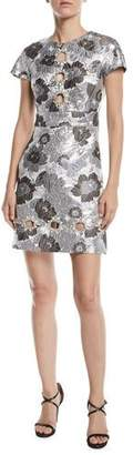 Michael Kors Short-Sleeve Summer Floral Metallic Brocade Dress