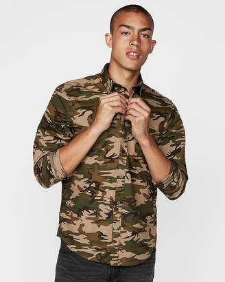 Express Slim Camo Long Sleeve Button-Down Shirt