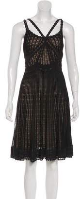 Christian Dior Lace-Accented Midi Sleeveless Dress