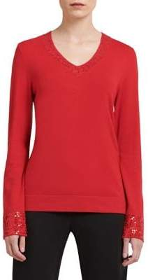 Donna Karan Long Sleeve Sequin Blouse