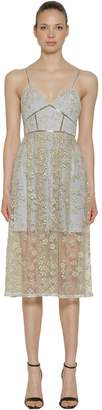 Self-Portrait Floral Embroidered Tulle Midi Dress