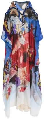 Roberto Cavalli Cold-Shoulder Embellished Floral-Print Silk-Georgette Gown