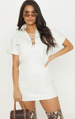 2cea87f8c PrettyLittleThing White Lace Up Front Faux Leather Shirt Dress