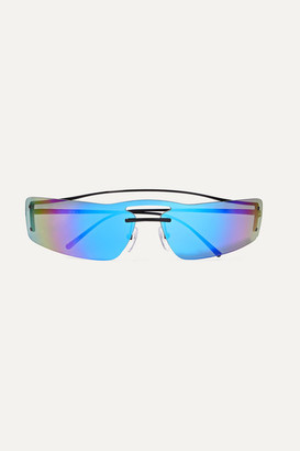 Prada Square-frame Metal Mirrored Sunglasses - Blue