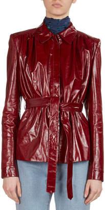 Magda Butrym Fargo Belted Leather Shirt Jacket