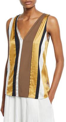 Brunello Cucinelli V-Neck Sleeveless Striped Paneled Top w/ Monili Trim