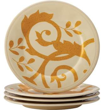Rachael Ray Dinnerware Gold Scroll 4-Piece Round Appetizer Plate Set, Almond Cream