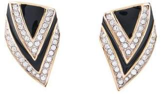 Nina Ricci Crystal & Enamel Clip-On Earrings