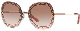 Tory Burch Rimless Lens-Over-Frame Square Sunglasses