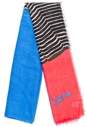 Diane von Furstenberg Printed Wool & Silk Blend Scarf Blue Printed Wool & Silk Blend Scarf