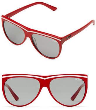 Quay Hollywood Nights 56MM Straight Aviator Sunglasses