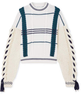 Carven Cable-knit Wool And Alpaca-blend Sweater - Ecru