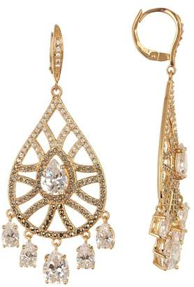 Judith Jack Gold Plated Sterling Silver Swarovski Marcasite & Crystal Shaky Pave Teardrop Earrings