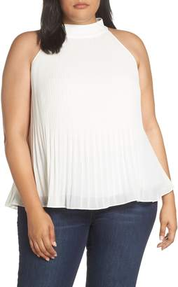 1 STATE 1.STATE Mixed Pleat Sleeveless Chiffon Blouse