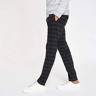 Mens Navy check skinny fit smart trousers