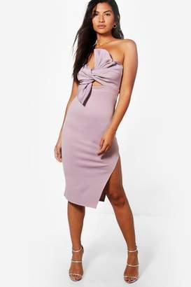 boohoo Scuba Bow Detail Bandeau Midi Dress