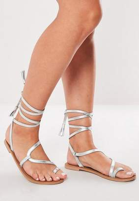 Missguided Asymmetrical Lace Up Real Leather Sandals
