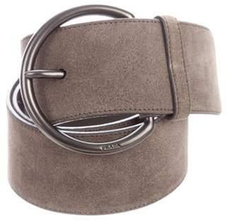 Prada Suede Buckle Belt Grey Suede Buckle Belt