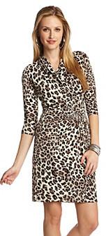 Karen Kane Animal Print Cascade Wrap Dress