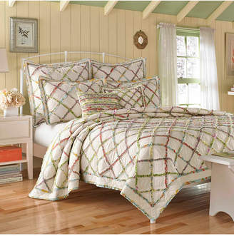 Laura Ashley Twin Ruffle Garden Cream Quilt Set Bedding