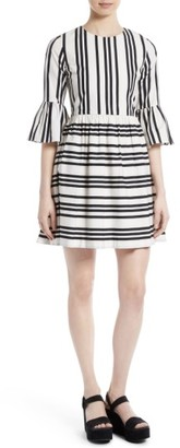 Women's Alice + Olivia Augusta Ruffle Sleeve Stripe Dress $330 thestylecure.com