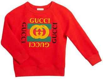 Gucci Long-Sleeve Logo Sweatshirt, Size 4-10