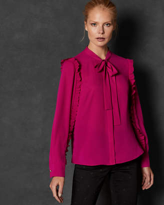 a65d512140bb0 Ted Baker LEENAR Ruffle sleeve tie neck blouse