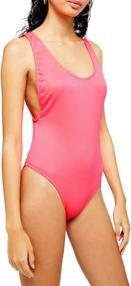 Topshop Ribbed Scoop Neck One Piece Swimsuit